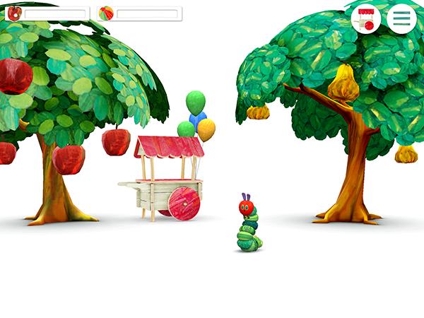 「わたしのはらぺこあおむし」アプリ初期画面